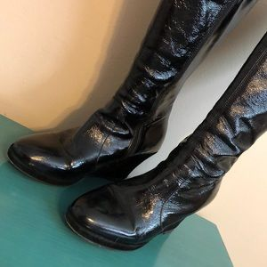 Boden, black patent leather and suede boots.